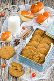Pumpkin-oatmeal cookies with nuts Royalty Free Stock Photo