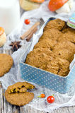 Pumpkin-oatmeal cookies with nuts Stock Images