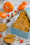 Pumpkin-oatmeal cookies with nuts Stock Photos