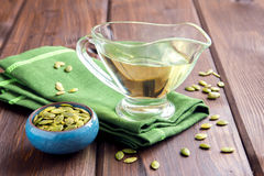 Pumpkin oil and seeds Royalty Free Stock Photos