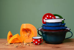 Pumpkin and old metal utensils Royalty Free Stock Photography