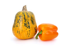 Pumpkin and orange bell pepper Royalty Free Stock Photos
