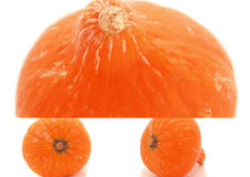Pumpkin. Orange pumpkin, Collage of three photos on a white background, isolated Royalty Free Stock Images