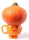 Pumpkin and orange cup Stock Photos