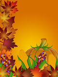 Pumpkin Ornamental Corn and Fall Leaves Stock Photo