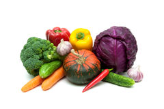 Pumpkin and other vegetables on a white background Royalty Free Stock Photo