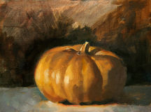 Pumpkin Painting. An oil painting of a pumpkin with dark background vector illustration