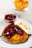 Pumpkin pancake. With redcurrant marmalade Royalty Free Stock Photography