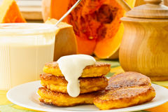 Pumpkin pancakes Stock Photos