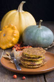 Pumpkin pancakes Stock Images