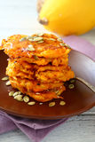 Pumpkin Pancakes on a brown plate Stock Images