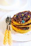 Pumpkin pancakes Stock Images