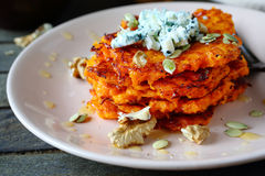 Pumpkin pancakes with honey and blue cheese Stock Photography