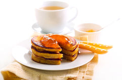 Pumpkin pancakes with marmalade Royalty Free Stock Photos