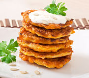 Pumpkin pancakes with sour cream Royalty Free Stock Image