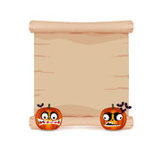 Pumpkin and parchment sign funny Stock Image