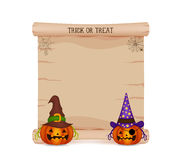 Pumpkin and parchment sign halloween Royalty Free Stock Photo