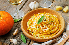 Pumpkin pasta with Parmesan cheese and sage Stock Images