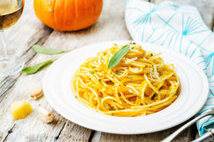 Pumpkin pasta with Parmesan cheese and sage Stock Image