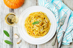 Pumpkin pasta with Parmesan cheese and sage Royalty Free Stock Photography