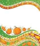 Pumpkin Patch. Pumpkins, gourds, seeds, leaves, and acorns decorate this stationary Royalty Free Stock Photo