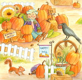 Pumpkin Patch. Watercolor illustration of a pumpkin patch Royalty Free Stock Photos