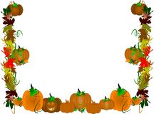 Pumpkin patch border. Border on white of pumpkin patch for Halloween Stock Photography
