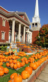 Pumpkin patch in front of church in Appalachian mountains. Stock Photo