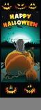 Pumpkin Patch Kitty. A happy Halloween kitten sitting in a pumpkin patch Stock Illustration