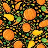 Pumpkin Patch Seamless Pattern. Funky Pattern of  Pumpkins, Gourds, seeds, acorns, and leaves Royalty Free Stock Photos