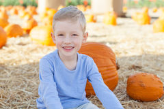 Pumpkin patch. Smiling little boy having fun at pumpkin patch, american tradition royalty free stock image