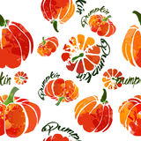 Pumpkin pattern fresh watercolor Stock Images