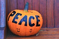 Pumpkin with a Message of Peace stock photography