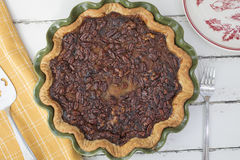 Pumpkin Pecan Walnut Pie Baked In A Green Ceramic Dish Royalty Free Stock Image