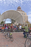 Pumpkin Pedaler Bicyclists Assembled Royalty Free Stock Photography