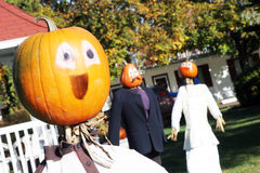 Pumpkin people wedding Royalty Free Stock Images