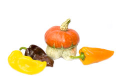 Pumpkin and peppers Stock Images