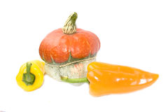 Pumpkin and peppers Stock Photography