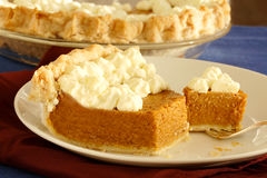 Pumpkin pie. Mouth watering dessert to end the Thanksgiving meal Stock Photo