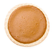 Pumpkin Pie. From above on a white background stock images