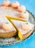Pumpkin pie. Pumpkin fruitcake with sugar pumpkins and icing sugar Stock Photography