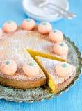 Pumpkin pie. Pumpkin fruitcake with sugar pumpkins and icing sugar Royalty Free Stock Photo