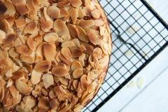 Pumpkin pie with almond stock photos