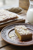 Pumpkin pie with almond petals royalty free stock photos