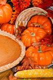 Pumpkin pie with autumn leaves and pumpkins. Royalty Free Stock Image