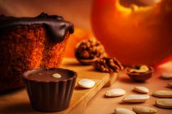 Pumpkin pie with a chocolate candy Stock Image