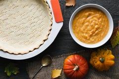 Pumpkin pie cooking process Royalty Free Stock Photos