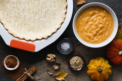Pumpkin pie cooking process Royalty Free Stock Photography