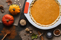Pumpkin pie cooking process Stock Photos