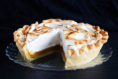 Pumpkin pie cutout, with meringue cream, classic thanksgiving Royalty Free Stock Photo
